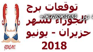 صورة توقعات برج الجوزاء لشهر حزيران – يونيو 2018-افضل شيخة روحانية نور 0096176904084