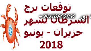 صورة توقعات برج السرطان لشهر حزيران – يونيو 2018-افضل شيخة روحانية نور 0096176904084