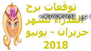 صورة توقعات برج العذراء لشهر حزيران – يونيو 2018-اقوى شيخة روحانية نور 0096176904084
